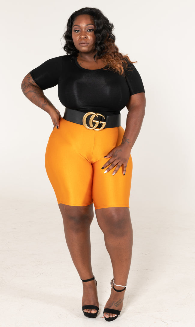 "Plus Size ""Last Chance"" High Waist Shiny Biker Shorts - Liquid Gold"