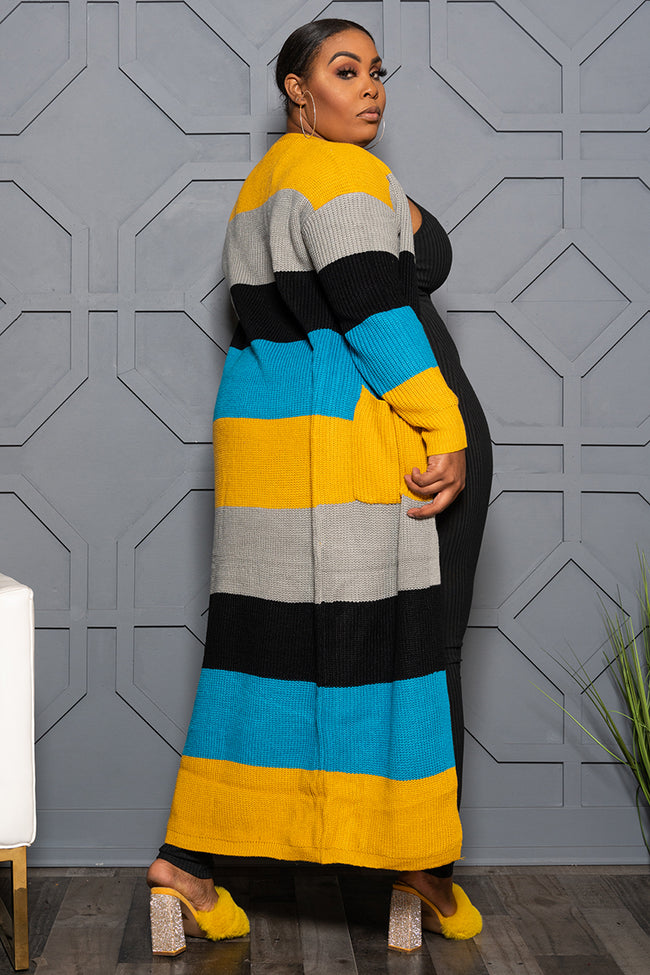 "Plus Size ""Tik Tok"" Oversized Sweater  = Yellow Gray Turquoise Black"