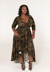 "Plus Size ""Missy"" Camouflage Hi Lo Maxi Dress - Dark Olive Green Camo"