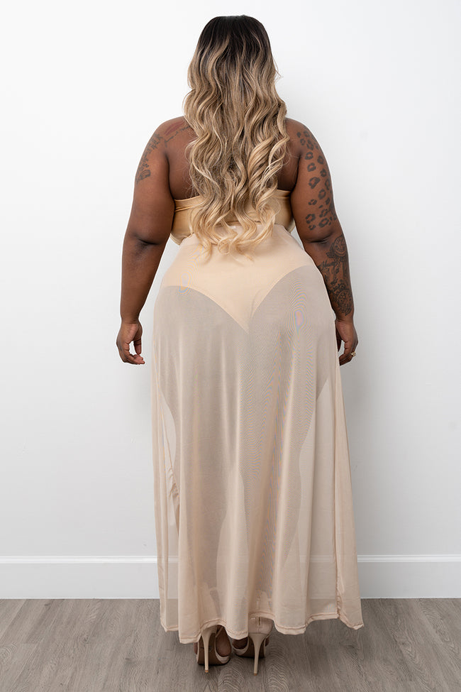 "Plus Size ""Legs 4 Days"" Sheer Double Split Skirt - Nude"