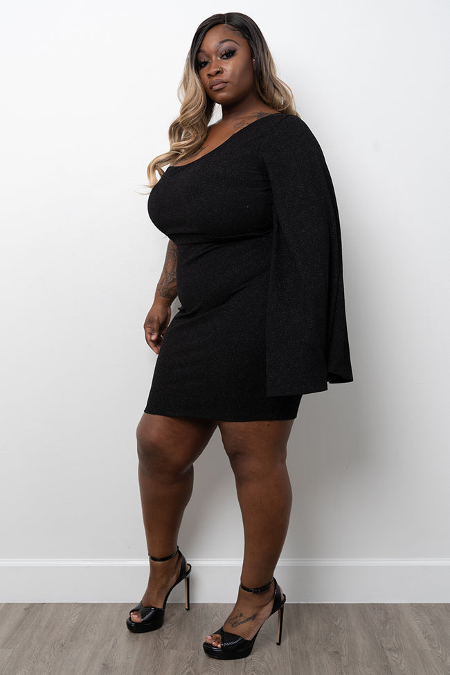 "Plus Size ""Pantene"" One Sleeve Glitter Dress - Black"