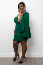 "Plus Size ""Pantene"" One Sleeve Glitter Dress - Green"