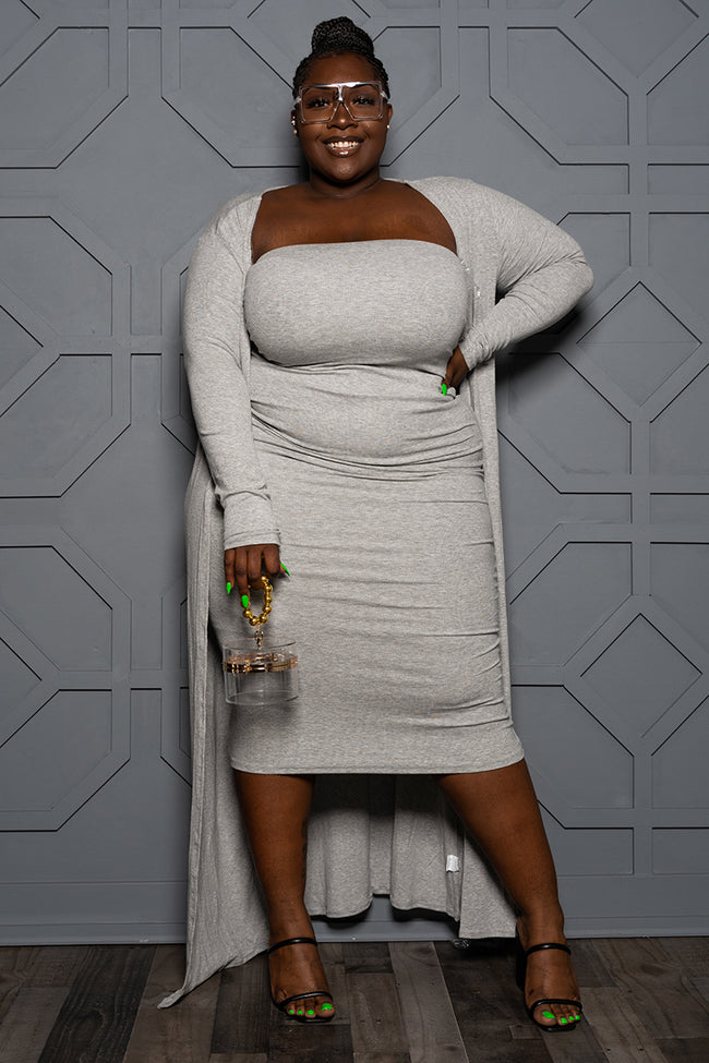 "Plus Size ""Boss Moves"" Tube Dress w/Duster - Gray"