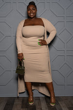 "Plus Size ""Boss Moves"" Tube Dress w/Duster - Mocha"