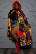 "Plus Size ""Fly High"" Cape - Multi Mustard Red Purple Rust"