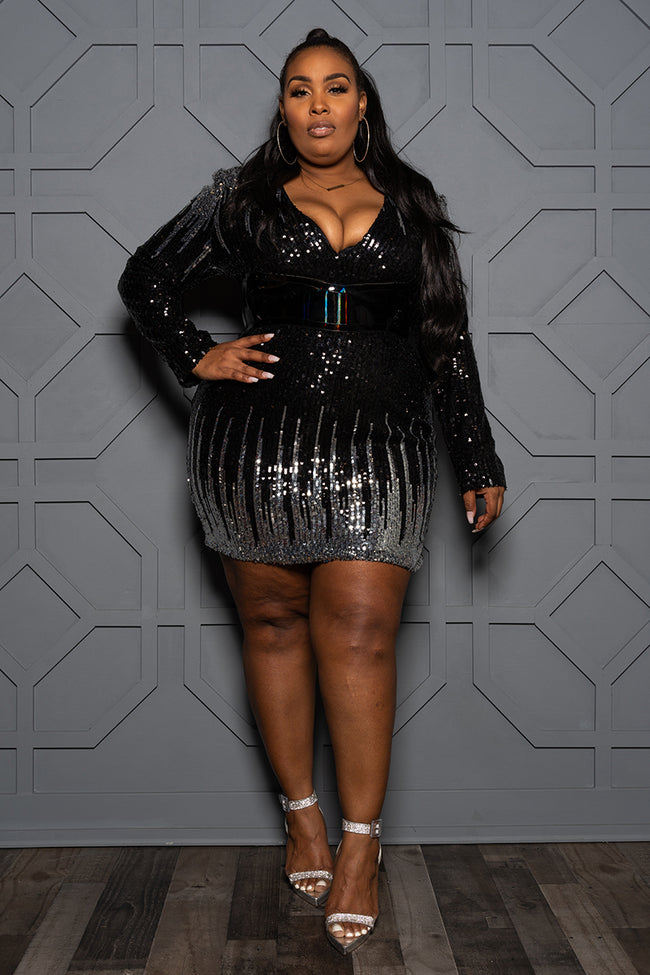 "Plus Size ""Midnight Hour"" Belted Sequin Mini Dress - Silver Black"