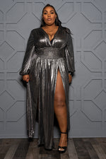 "Plus Size ""Oh Goddess"" Double Split Gown - Liquid Silver"