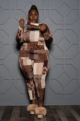 "Plus Size ""Fakin"" Logo pant Set - Brown Mocha"