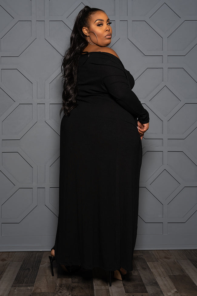 "Plus Size ""Boss Moves"" Tube Dress w/Duster - Black"