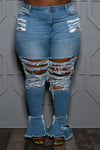 "Plus Size ""Apple Bottom"" Destroyed Bell Jeans - Medium Blue"