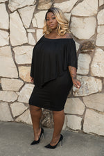 "Plus Size ""Nadia"" Off Shoulder Tube Dress - Black"