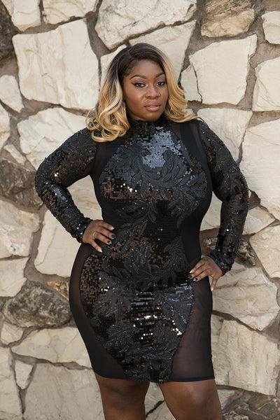 "Plus Size ""Grand Finale"" Sequin Mesh Outline Long Sleeve Party Dress"