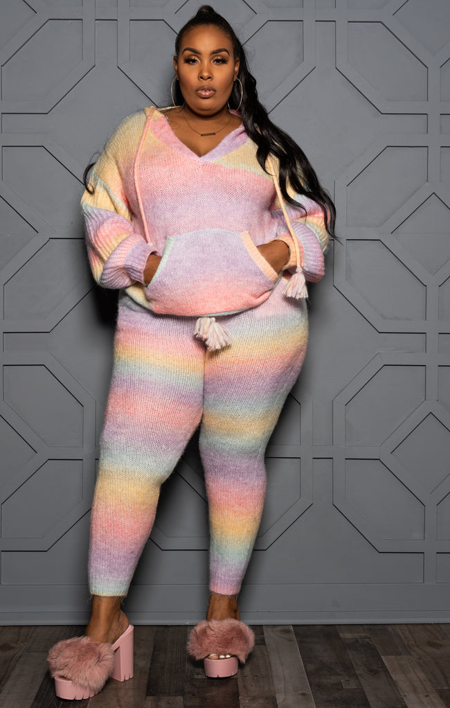 "Plus Size ""Cloud Chaser"" Fuzzy Lounge Set - pastel Pink Blue"