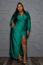 """My Eyes are Green"" Faux Wrap Party Gown - Emerald"