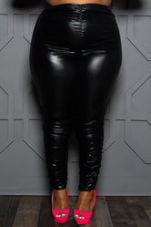 "Plus Size ""Special Edition"" Ruched Vegan Leather Pants - Black"