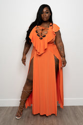 "Plus Size ""Bombay"" Double Split Dress - Orange"