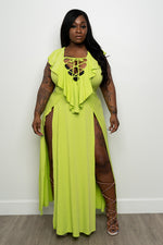 "Plus Size ""Bombay"" Double Split Dress - Lime"