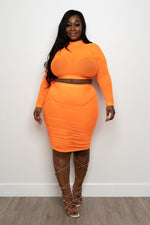 "Plus Size ""Sorbet"" Ruched Mesh Set - Orange"