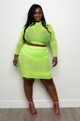 "Plus Size ""Sorbet"" Ruched Mesh Set - Neon Green"