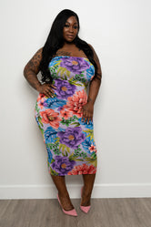 "Plus Size ""Flower Party"" Midi Tube Dress - Purple Blue Green"