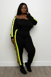 "Plus Size ""Litty"" Off Shoulder 2 Piece Jogger Set - Black Neon Green"