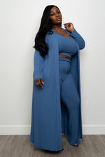 "Plus Size "" Myra"" Cardigan Set - Blue"