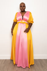 "Plus Size ""Pink Lemonade"" Maxi Dress - Pink Yellow"