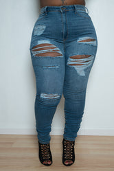 "Plus Size ""Rudy"" Ripped High Waist Denim Jeans - Blue"