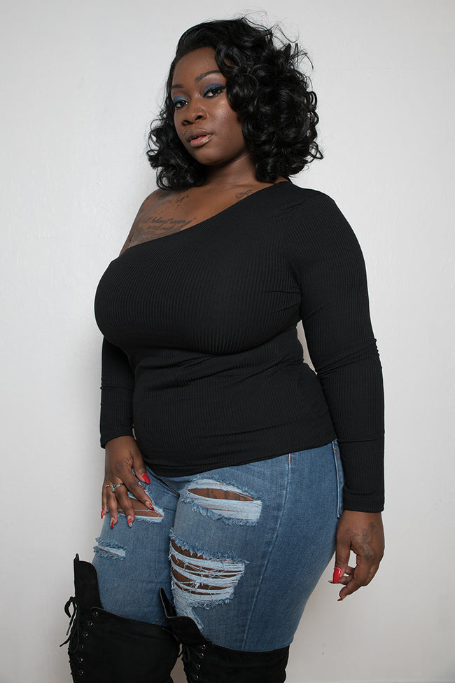 "Plus Size ""NaNA"" One Shoulder Cut Out Long Sleeve Top - Black"