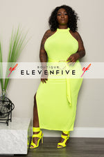 "Plus Size ""Passion"" Mock Neck Gown - Neon Green"