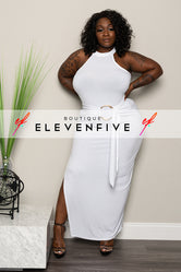 "Plus Size ""Passion"" Mock Neck Gown - White"