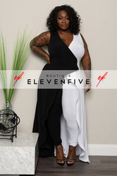 "Plus Size ""Worthy Two Be Praised"" Maxi Jumpsuit - Black White"