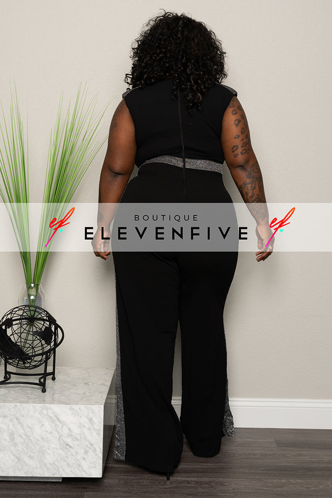 "Plus Size ""Lady in My Life"" Jumpsuit - Black"