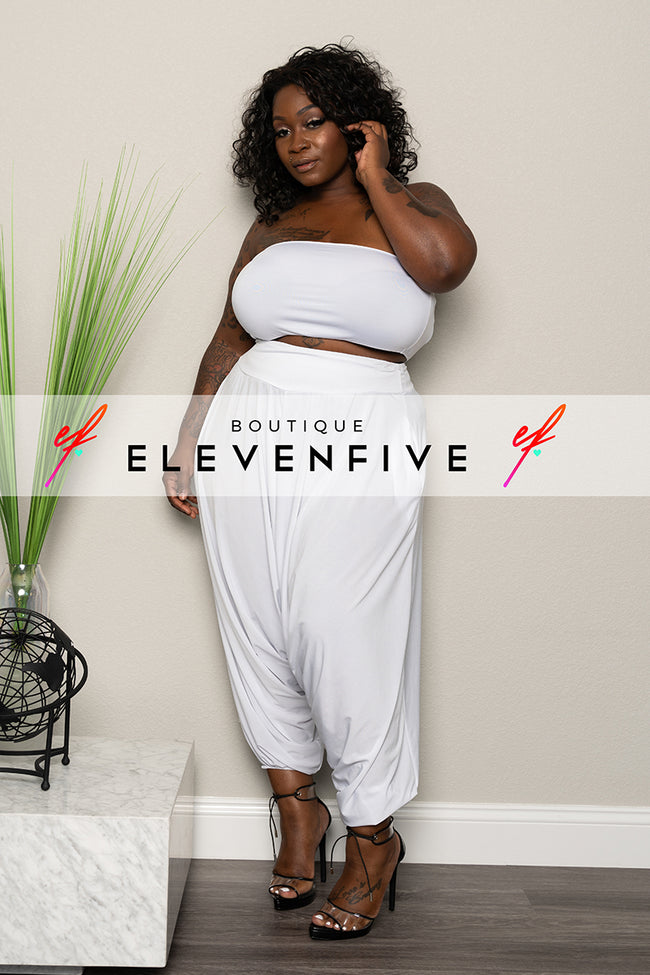 Plus Size Harem Pants - White