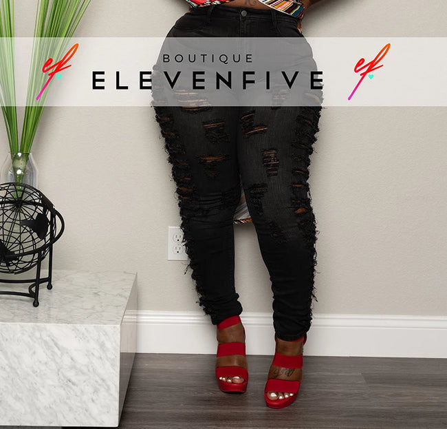 "Plus Size ""Bite"" Ripped Denim Jeans- Washed Black"