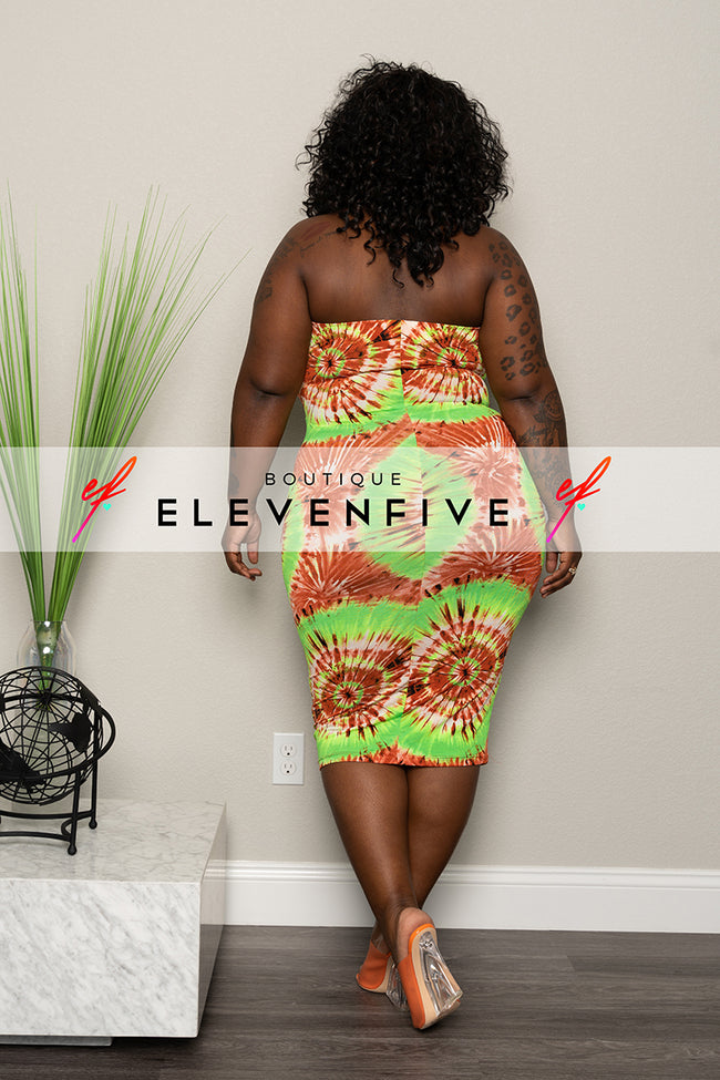 "Plus Size ""Conga Beat"" Tube Dress - Neon Green Rust"