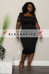 "Plus Size ""Loose Ends"" Caged Sleeve Dress - Black"