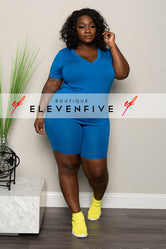 "Plus Size ""Grind Mode"" Short Set - Royal Blue"