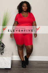 "Plus Size ""Grind Mode"" Short Set - Red"