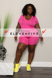 "Plus Size ""Grind Mode"" Short Set - Pink"