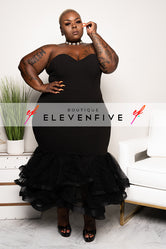 "Plus Size ""I've Arrived"" Tulle Mermaid Dress - Black"