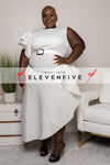 "Plus Size ""Georgia Peach"" Ruffle Midi Belted Dress - Ivory"