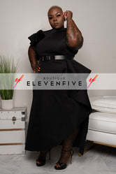 "Plus Size ""Georgia Peach"" Ruffle Midi Belted Dress - Black"
