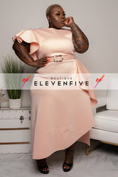 "Plus Size ""Georgia Peach"" Ruffle Midi Belted Dress - Peach"