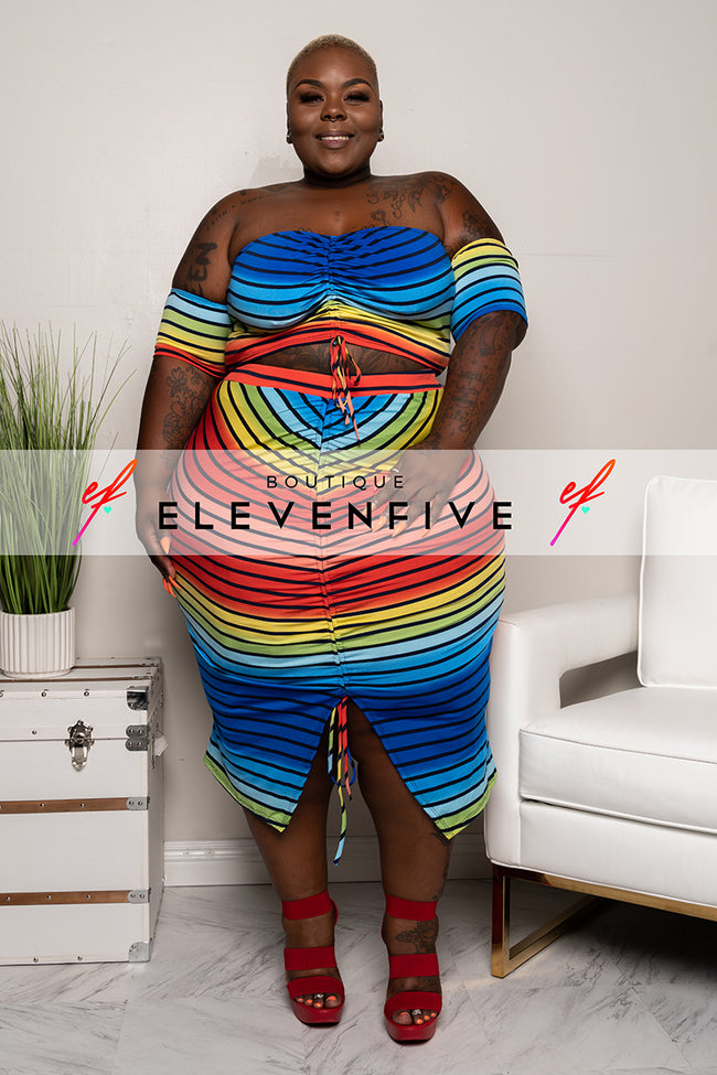 "Plus Size ""Cute Girl Summer"" Striped Set - Rainbow Multi"
