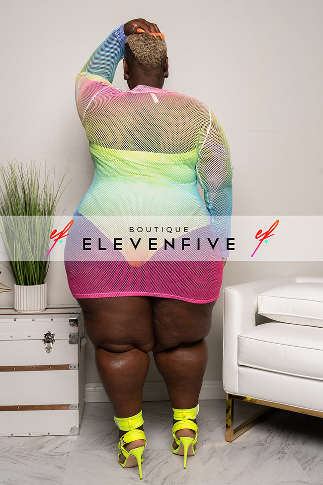 "Plus Size ""Girl Gone Wyld"" Ombre Fishnet Dress - Pink Yellow Blue Multi"