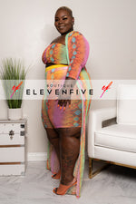 "Plus Size ""Scaled It"" 3 Piece Mesh Duster Set - Multi Pink Snakeskin"