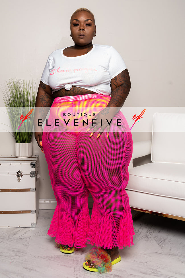 "Plus Size ""Bloom"" Fishnet Bell Bottom Pants - Hot Pink"