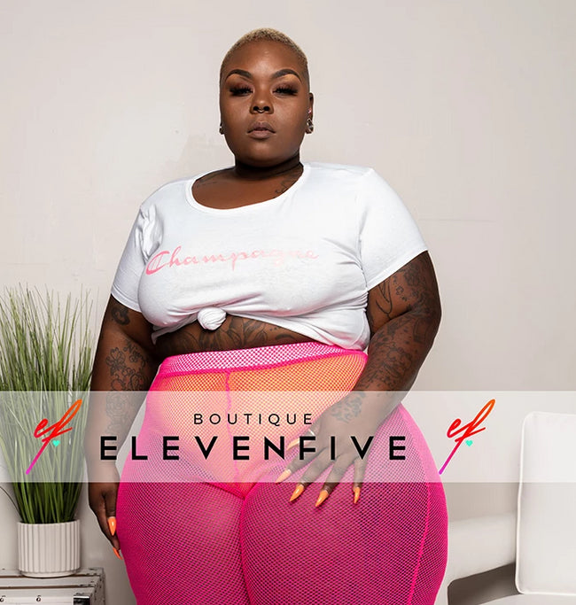 "Plus Size ""Champagne"" Inspired Crop Top - White Neon Pink"
