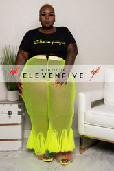 "Plus Size ""Bloom"" Fishnet Bell Bottom Pants - Neon Lime"